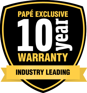 Black and Yellow Exclusive Papé Equipment 10 Year Warranty Badge