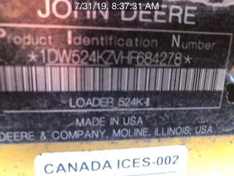 2018 John Deere 524KII