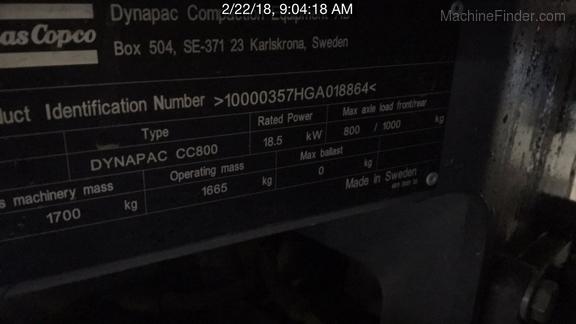 2017 Dynapac CC800