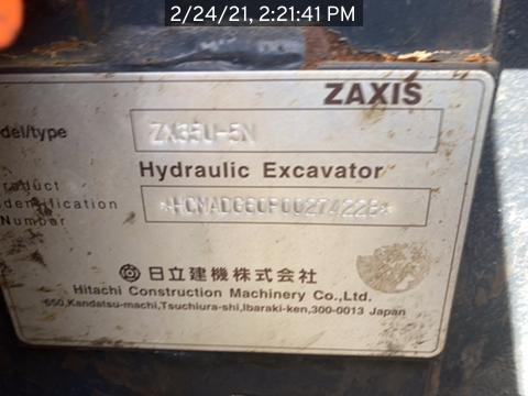 2017 Hitachi ZX35U5