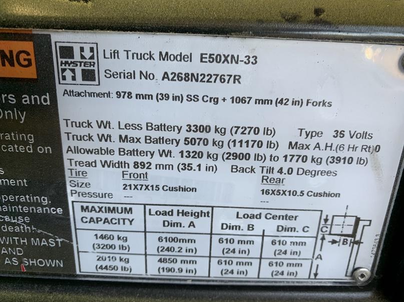 2017 Hyster E50XN